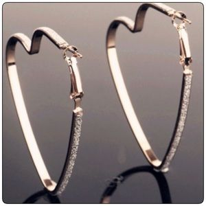 Heart Shaped Crystal Hoops